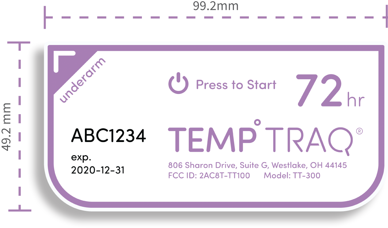 TempTraq patch - 99.2mm x 49.2mm
